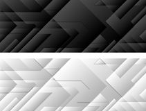 Black and white tech geometric banners Royalty Free Stock Photography