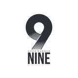 Black and white technological number nine logo template Royalty Free Stock Images