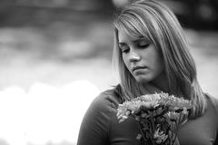 Black and white teen girl Stock Image