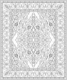 Black and white template for carpet. Oriental abstract ornament. Black and white template for carpet, textile. Pattern with frame Royalty Free Stock Photo