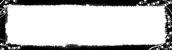 Black and White Text Border. A white rectangular background framed with a black border of hearts artistically intertwined with lines like a vine. Plenty of white Royalty Free Stock Image