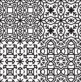 Black and White Textile Patterns Set. Royalty Free Stock Image