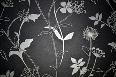 Black and white texture. Painted with leaf and flowers Royalty Free Stock Images