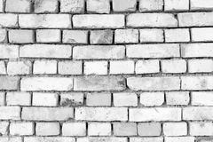 Black and white texture old brick, rustic wall in light gray and Stock Photography