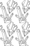 Black and white texture of outline illustration natural crystals Stock Image