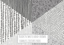 Black and white textures, seamless, hand-drawn, simple, based on stripes, flourishes and loops. Stylish  illustration, drawn Stock Photo