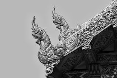 The black and white Thai fine art of animals in Mythology on the Royalty Free Stock Image