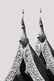 The black and white of Thai fine art relief on the roof of the t Stock Photography