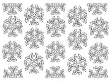 Black and White of Thai Vintage Wallpaper Pattern Background. Thai Pattern, Illustration of Beautiful Black and White Vintage Texture Wallpaper Background for Royalty Free Stock Image