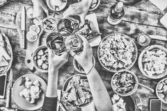 Thanksgiving Celebration Traditional Dinner Setting Food Concept. Black and white. Thanksgiving Celebration Traditional Dinner Setting Food Concept. top veiw Royalty Free Stock Photos