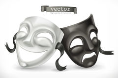 Black and white theatrical masks. Comedy and tragedy, vector icon Stock Photography