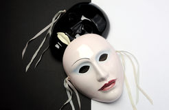 Black and white theme ceramic masks. For actor, performance, emotions and theatre concept Stock Image