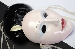 Black and white theme ceramic masks. Close up. Royalty Free Stock Photos