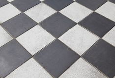 Black and white tiled floor Stock Photography