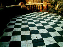 Black and white tiled patio  Stock Photography