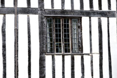 Black and white timbered building Stock Images