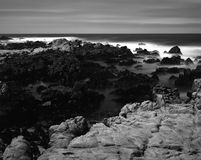 Black and White Time Lapse Asilomar State Marine Reserve Stock Images