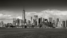 Black & White time lapse of New York City's Financial District skyscrapers stock video footage