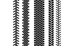 Black and white tire tread protector track seamless pattern, vector set Stock Photo