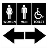 Black and White Toilet Sign and arrow, Men, Women and handicapped.eps10  Stock Image