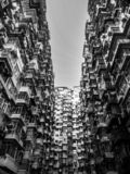 Black and white tone, Very Crowded but colorful building group in Tai Koo, Hongkong.  royalty free stock photo