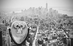 Black and white toned binoculars over Manhattan, NYC. Royalty Free Stock Images