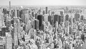 Black and white toned panoramic view of Manhattan, NYC. Royalty Free Stock Photography