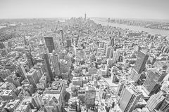 Black and white toned view of Manhattan, NYC. Stock Photos