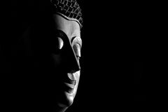 Black and white top view closeup picture of Buddha statue. Buddh Royalty Free Stock Photo