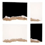 Black and White Torn Cardboard Set. Isolated on White Background Royalty Free Stock Images