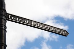 Black and white tourist information sign with blue sunny skies i. N the background Stock Photos