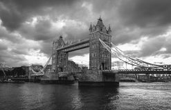 Black and white Tower Bridge at London Stock Photography