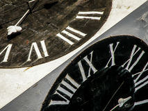 Black and white tower clock of Petrovaradin fortress Royalty Free Stock Image