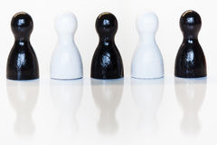 Black and white toy figurines, diversity concept Royalty Free Stock Photography