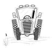Black and white tractor profile in the field. A funny drawing. Spring work or harvesting. White background Stock Images