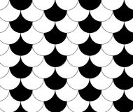 Black White Traditional Wave Japanese Chinese Seigaiha Pattern B Stock Photos