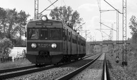 Black and white train Stock Images