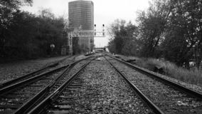 Black and White Train tracks royalty free stock photo