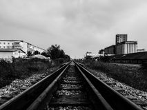 Black and white train trail Stock Photography