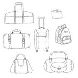 Black and white travel bags linear drawings set, vector Stock Image