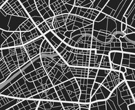 Black and white travel city map. Urban transport roads vector cartography background. City road background, cartography downtown, urban town navigation stock illustration