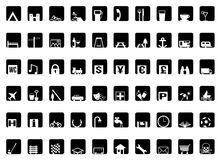 Black And White Travel Icons Stock Photo