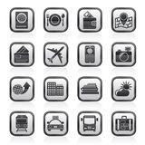 Black and white travel, transportation and vacation icons Royalty Free Stock Photos