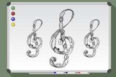 Black and white treble clef Royalty Free Stock Photos