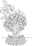 Black and white tree of love Stock Images