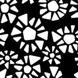 Black and white triangle shape flowers mosaic geometric seamless pattern, vector royalty free illustration