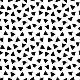 Black and white triangles hand drawn simple geometric seamless pattern, vector Royalty Free Stock Image