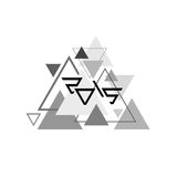 2015 on black-and-white triangles. Simple black and white geometric pattern of triangles with a stylized inscription 2015. Vector stock illustration
