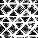 Black and white triangles and squares aged geometric ethnic grunge seamless pattern, vector. Background stock illustration