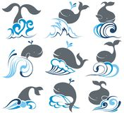 Black and white tribal art tattooig set of cartoon whales and sea waves Stock Photos